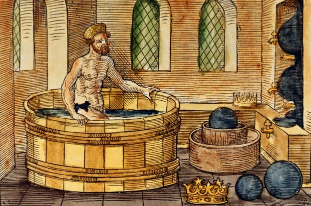 Archimedes in the bath, 16th-century woodcut